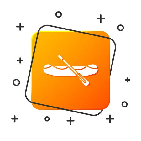 White Rafting boat icon isolated on white background. Inflatable boat with paddles. Water sports, extreme sports, holiday, vacation. Orange square button. Vector Illustration  イラスト・ベクター素材
