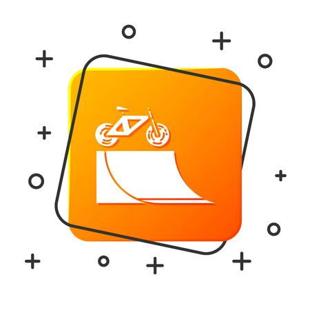 White Bicycle on street ramp icon isolated on white background. Skate park. Extreme sport. Sport equipment. Orange square button. Vector Illustration