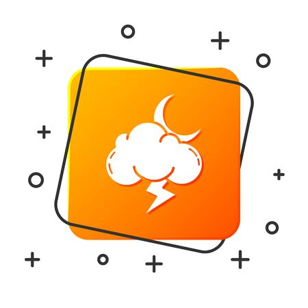 White Storm icon isolated on white background. Cloud with lightning and moon sign. Weather icon of storm. Orange square button. Vector Illustration