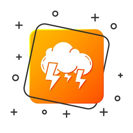 White Storm icon isolated on white background. Cloud and lightning sign. Weather icon of storm. Orange square button. Vector Illustration