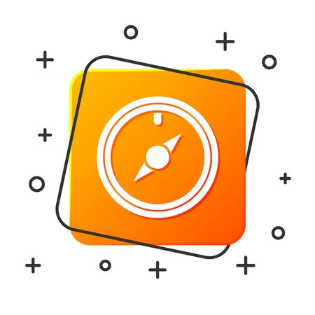 White Wind rose icon isolated on white background. Compass icon for travel. Navigation design. Orange square button. Vector Illustration Illustration
