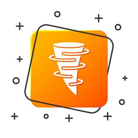 White Tornado icon isolated on white background. Orange square button. Vector Illustration