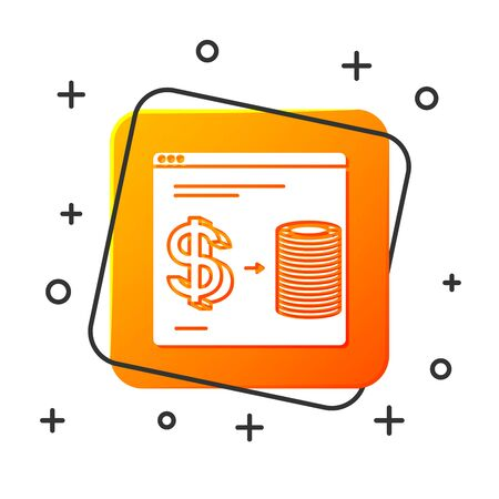 White Online casino chips exchange on stacks of dollars icon isolated on white background. Orange square button. Vector Illustration