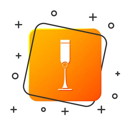 White Jewish goblet icon isolated on white background. Jewish wine cup for kiddush. Kiddush cup for Shabbat. Orange square button. Vector Illustration