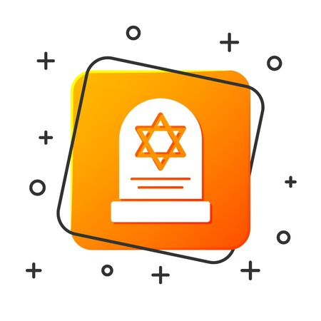 White Tombstone with star of david icon isolated on white background. Jewish grave stone. Gravestone icon. Orange square button. Vector Illustration