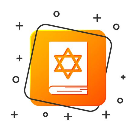 White Jewish torah book icon isolated on white background. Pentateuch of Moses. On the cover of the Bible is the image of the Star of David. Orange square button. Vector Illustration