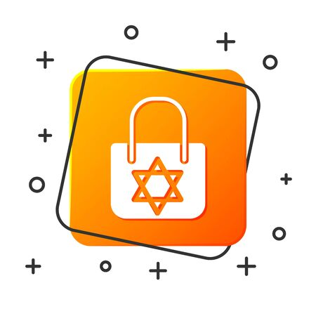 White Shopping bag with star of david icon isolated on white background. Package sign. Orange square button. Vector Illustration Illustration
