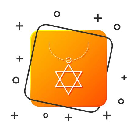 White Star of David necklace on chain icon isolated on white background. Jewish religion symbol. Symbol of Israel. Jewellery and accessory. Orange square button. Vector Illustration