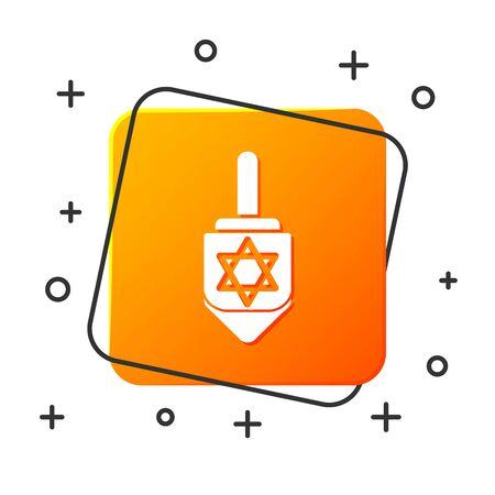 White Hanukkah dreidel icon isolated on white background. Orange square button. Vector Illustration
