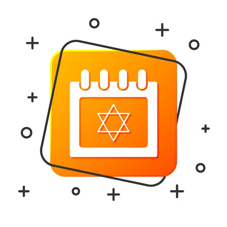 White Jewish calendar with star of david icon isolated on white background. Hanukkah calendar day. Orange square button. Vector Illustration