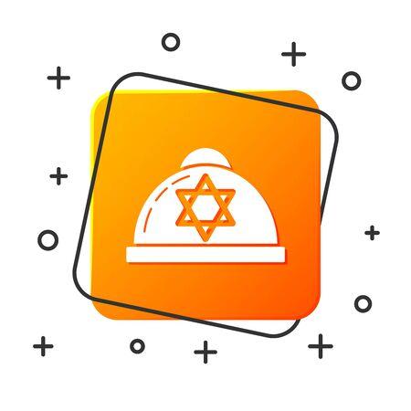 White Jewish kippah with star of david icon isolated on white background. Jewish yarmulke hat. Orange square button. Vector Illustration