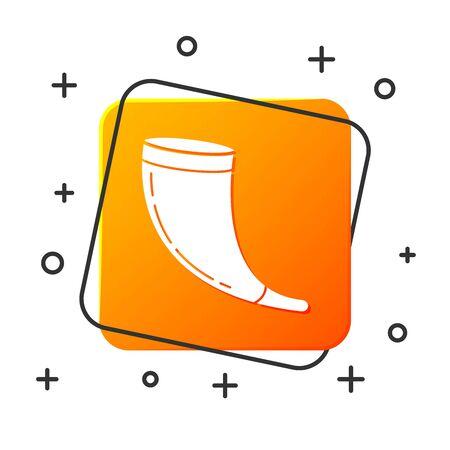 White Traditional ram horn, shofar icon isolated on white background. Rosh hashanah, jewish New Year holiday traditional symbol. Orange square button. Vector Illustration Çizim