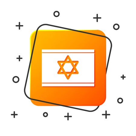 White Flag of Israel icon isolated on white background. National patriotic symbol. Orange square button. Vector Illustration