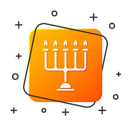 White Hanukkah menorah icon isolated on white background. Hanukkah traditional symbol. Holiday religion, jewish festival of Lights. Orange square button. Vector Illustration