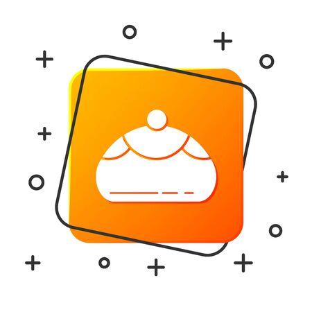 White Jewish sweet bakery icon isolated on white background. Hanukkah sufganiyot. Jewish easter cake. Orange square button. Vector Illustration Çizim