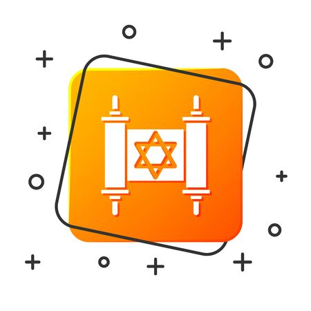 White Torah scroll icon isolated on white background. Jewish Torah in expanded form. Star of David symbol. Old parchment scroll. Orange square button. Vector Illustration Çizim