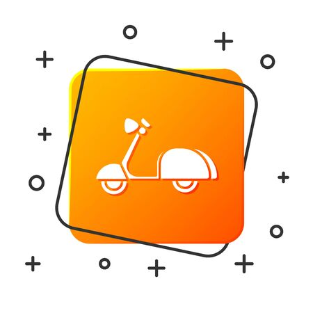 White Scooter icon isolated on white background. Orange square button. Vector Illustration