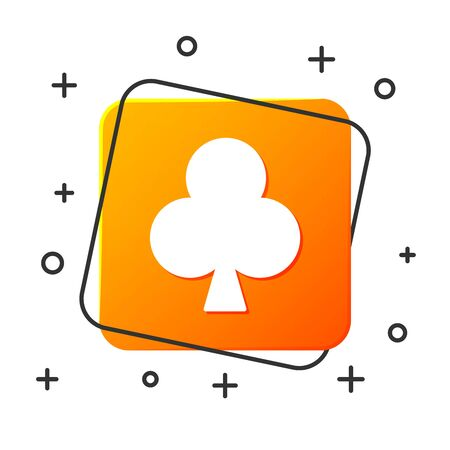 White Playing card with clubs symbol icon isolated on white background. Casino gambling. Orange square button. Vector Illustration 일러스트