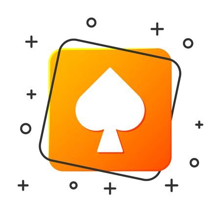 White Playing card with spades symbol icon isolated on white background. Casino gambling. Orange square button. Vector Illustration