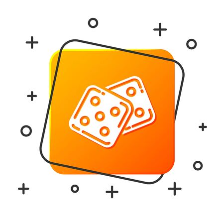 White Game dice icon isolated on white background. Casino gambling. Orange square button. Vector Illustration