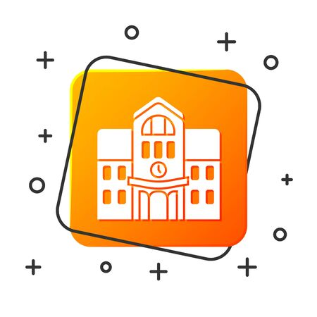 White School building icon isolated on white background. Orange square button. Vector Illustration