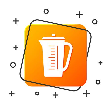 White Measuring cup to measure dry and liquid food icon isolated on white background. Plastic graduated beaker with handle. Orange square button. Vector Illustration
