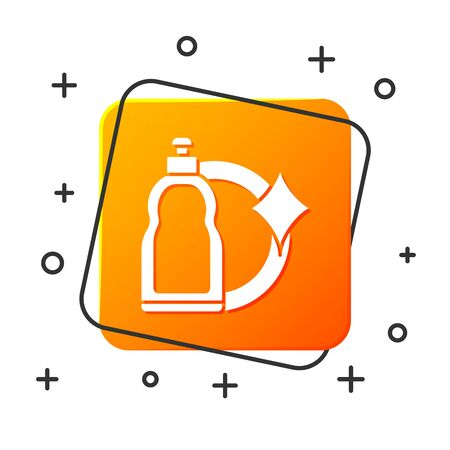 White Plastic bottle for liquid laundry detergent, bleach, dishwashing liquid or another cleaning agent icon isolated on white background. Orange square button. Vector Illustration Stok Fotoğraf - 131867845