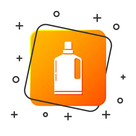 White Plastic bottle for liquid laundry detergent, bleach, dishwashing liquid or another cleaning agent icon isolated on white background. Orange square button. Vector Illustration