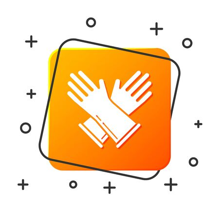 White Rubber gloves icon isolated on white background. Latex hand protection sign. Housework cleaning equipment symbol. Orange square button. Vector Illustration Illustration