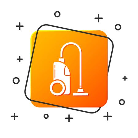 White Vacuum cleaner icon isolated on white background. Orange square button. Vector Illustration