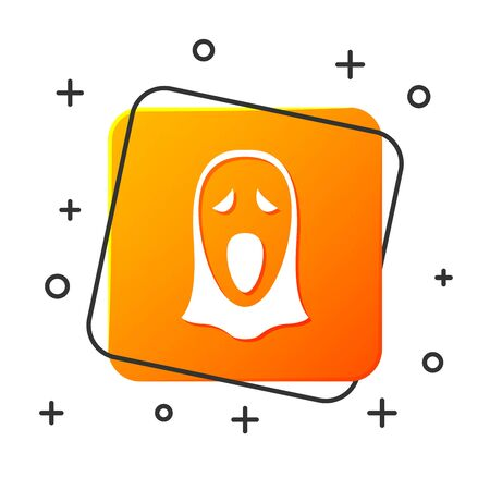 White Funny and scary ghost mask for Halloween icon isolated on white background. Happy Halloween party. Orange square button. Vector Illustration