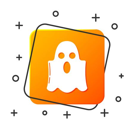 White Ghost icon isolated on white background. Happy Halloween party. Orange square button. Vector Illustration