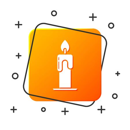 White Burning candle icon isolated on white background. Cylindrical aromatic candle stick with burning flame. Happy Halloween party. Orange square button. Vector Illustration Иллюстрация