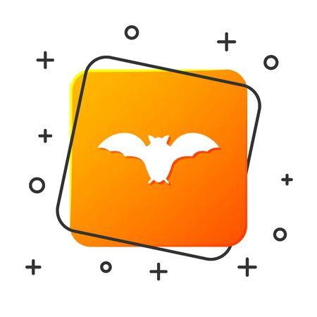 White Flying bat icon isolated on white background. Orange square button. Vector Illustration