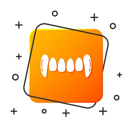 White Vampire teeth icon isolated on white background. Happy Halloween party. Orange square button. Vector Illustration