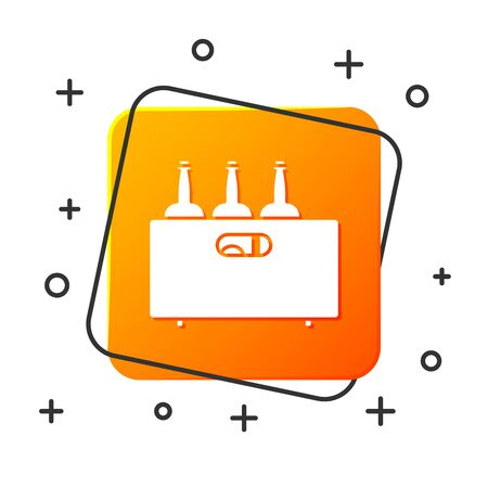 White Bottles of wine in a wooden box icon isolated on white background. Wine bottles in a wooden crate icon. Orange square button. Vector Illustration Çizim