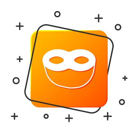 White Festive mask icon isolated on white background. Orange square button. Vector Illustration