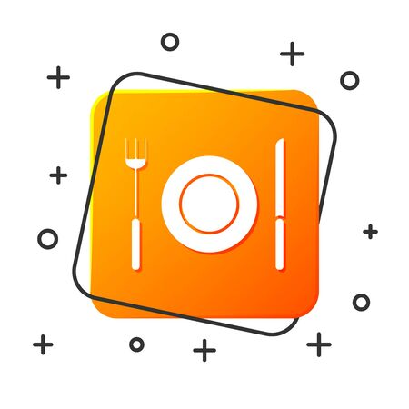White Plate, fork and knife icon isolated on white background. Cutlery symbol. Restaurant sign. Orange square button. Vector Illustration