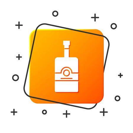 White Whiskey bottle icon isolated on white background. Orange square button. Vector Illustration Reklamní fotografie - 131928566