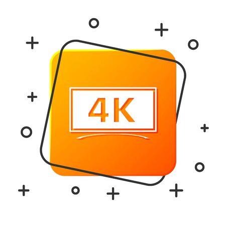 Tv a schermo bianco con icona di tecnologia video Ultra Hd 4k isolato su priorità bassa bianca. Pulsante quadrato arancione. illustrazione vettoriale