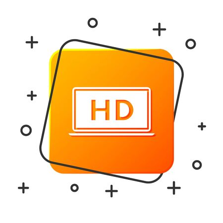 White Laptop screen with HD video technology icon isolated on white background. Orange square button. Vector Illustration