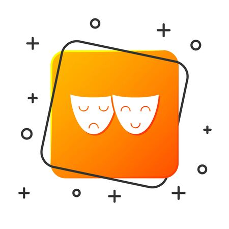 White Comedy and tragedy theatrical masks icon isolated on white background. Orange square button. Vector Illustration