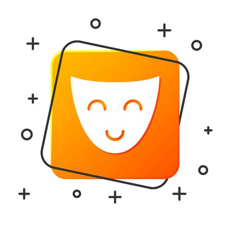 White Comedy theatrical mask icon isolated on white background. Orange square button. Vector Illustration