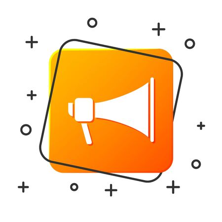 White Megaphone icon isolated on white background. Speaker sign. Orange square button. Vector Illustration