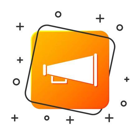 White Megaphone icon isolated on white background. Speaker sign. Orange square button. Vector Illustration Imagens - 131928660