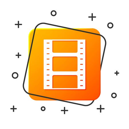 White Play Video icon isolated on white background. Film strip sign. Orange square button. Vector Illustration