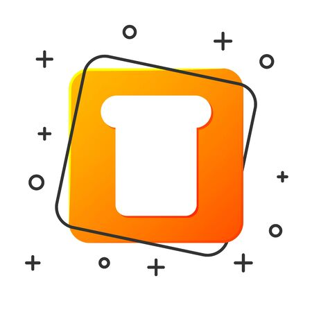 White Bread toast for sandwich piece of roasted crouton icon isolated on white background. Lunch, dinner, breakfast snack. Orange square button. Vector Illustration