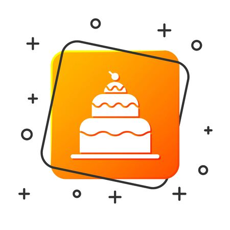 White Cake icon isolated on white background. Happy Birthday. Orange square button. Vector Illustration 写真素材 - 131928854