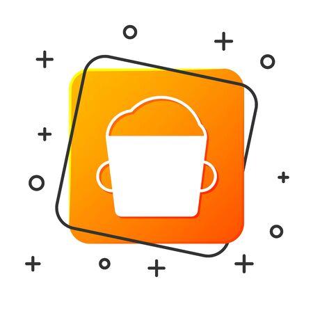 White Bakery bowl dough icon isolated on white background. Orange square button. Vector Illustration Illustration