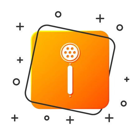 White Strainer spoon icon isolated on white background. Orange square button. Vector Illustration